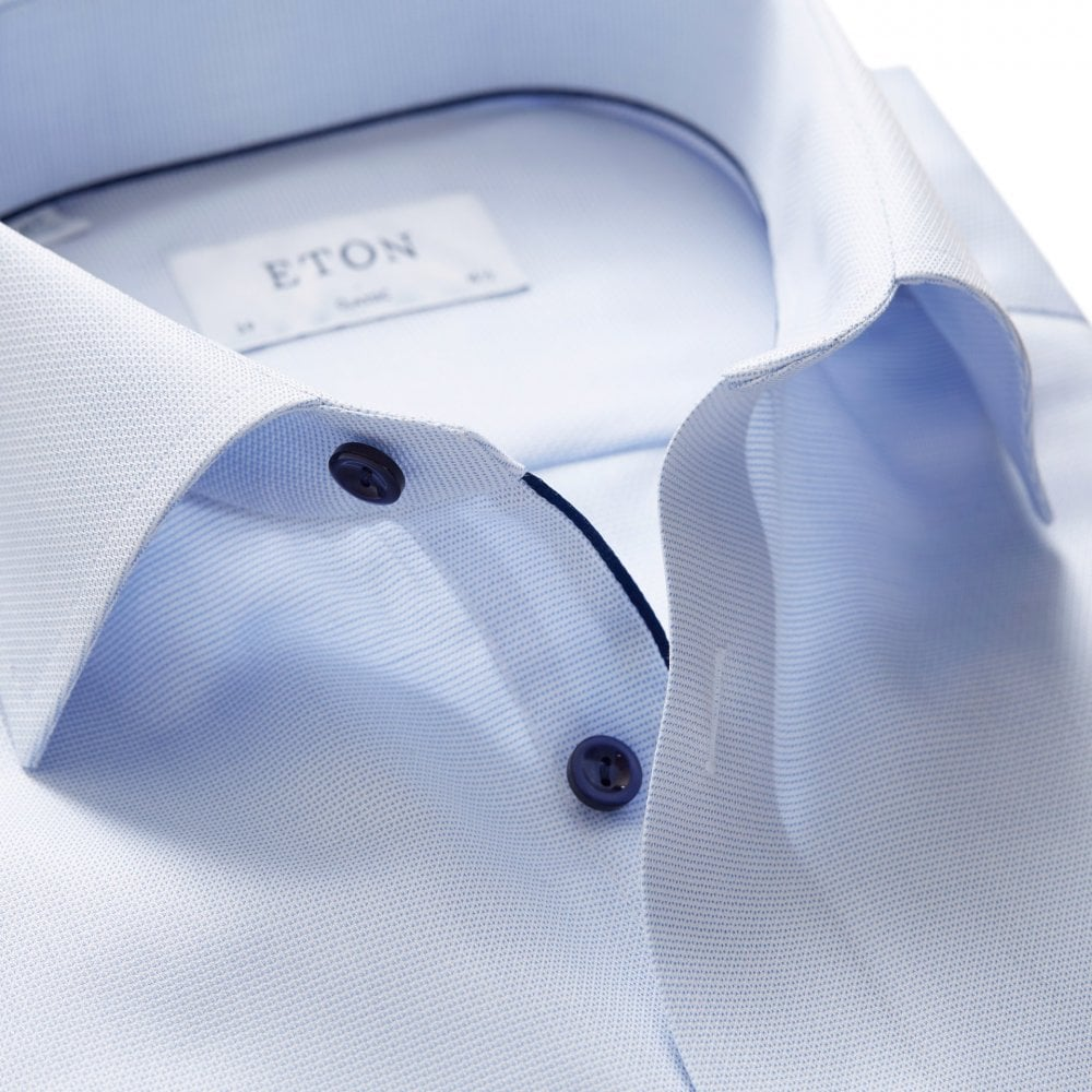 clearance sale variety of designs and colors limpid in sight ETON SKY BLUE ROYAL OXFORD SHIRT- NAVY DETAILS